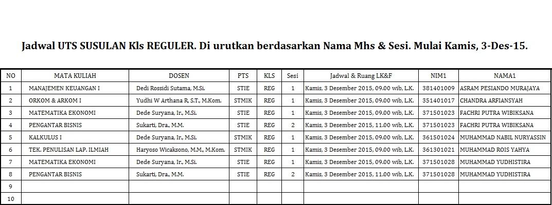 Jadwal UTS Susulan REG
