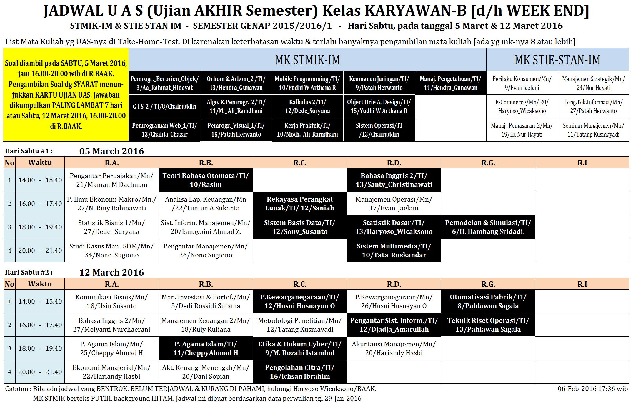 Jadwal UAS KRY-B Mulai 5-Maret-16