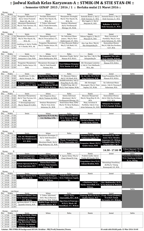 Jadwal Kuliah KRY-A FULL Start 21-Maret-16
