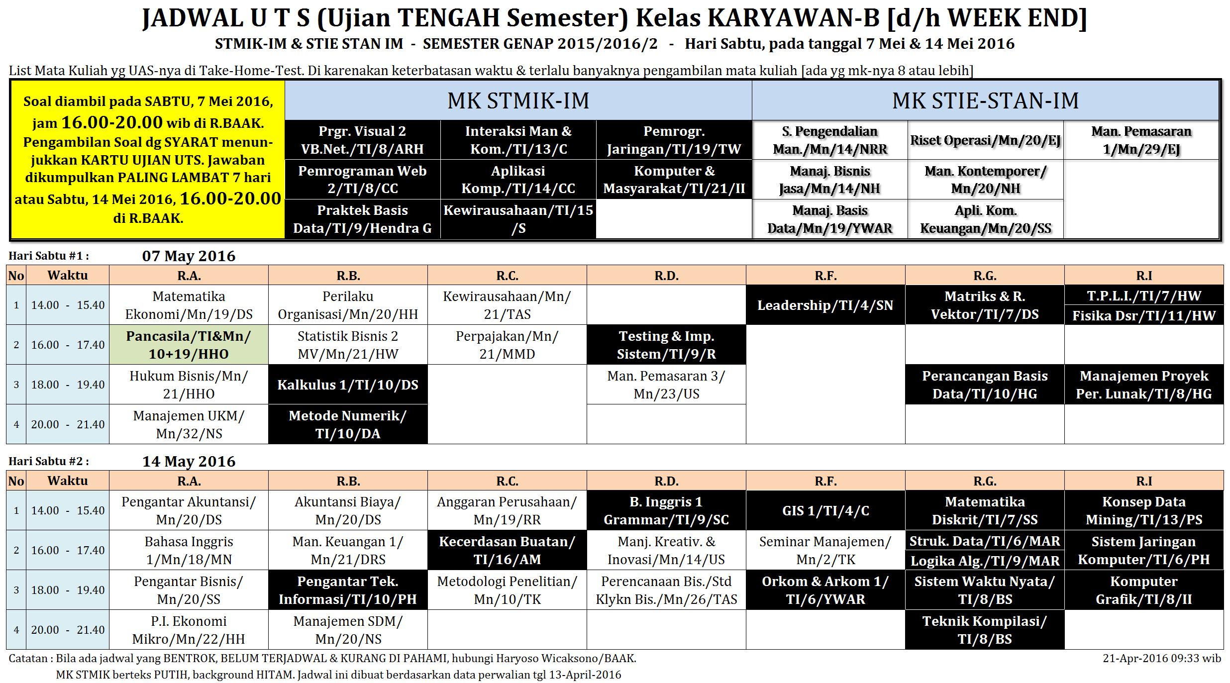 Jadwal UTS KRY-B Mulai 7-Mei-16