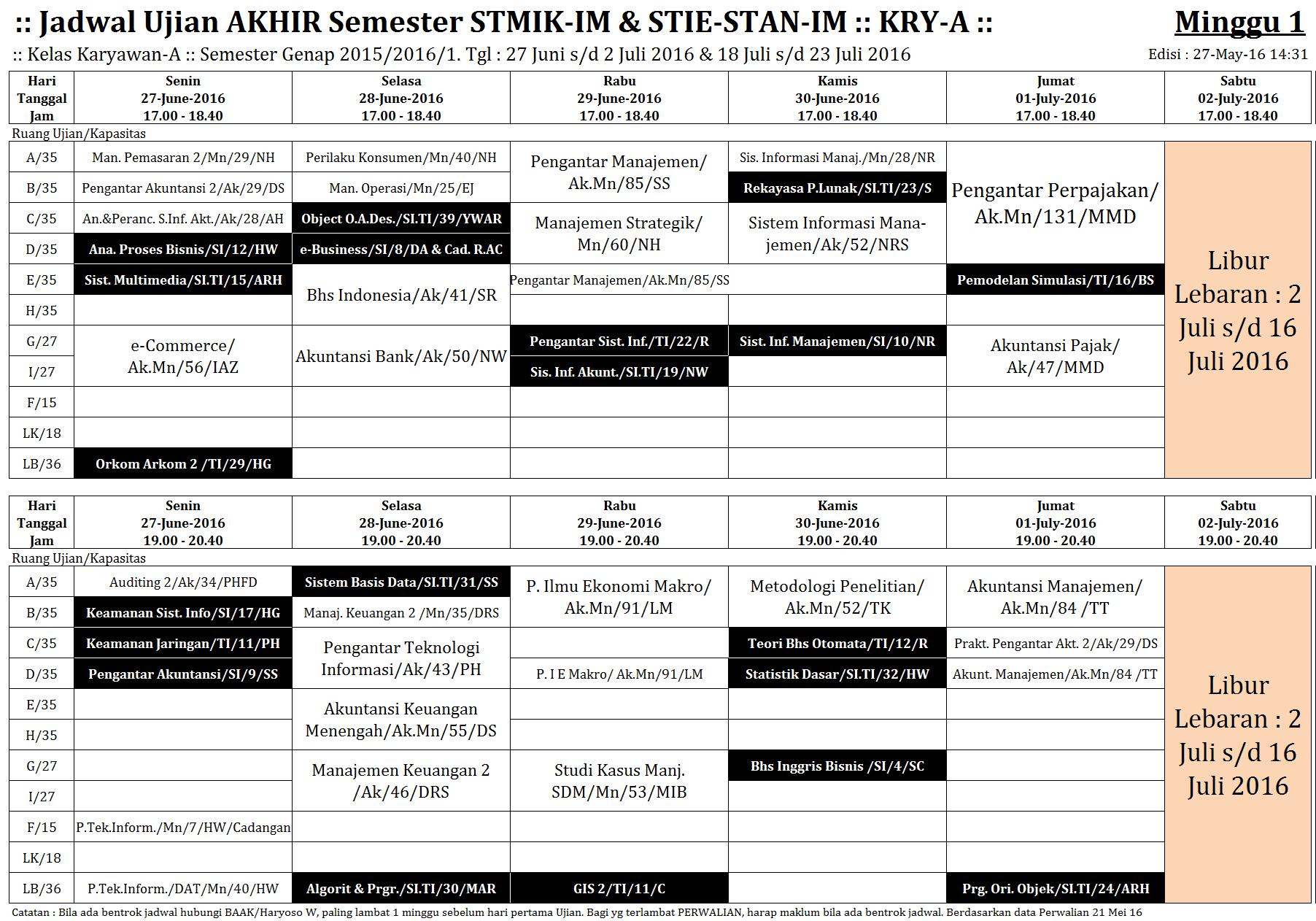 Jadwal UAS KRY-A 27-Juni-16 #1