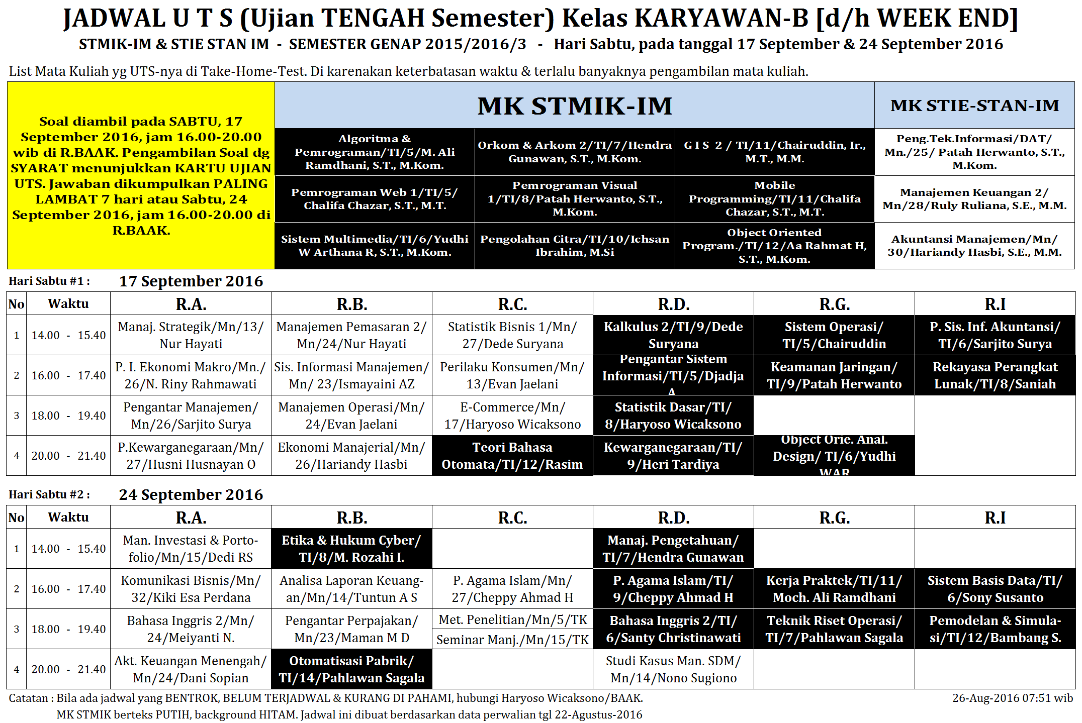 Jadwal UTS K-B 1